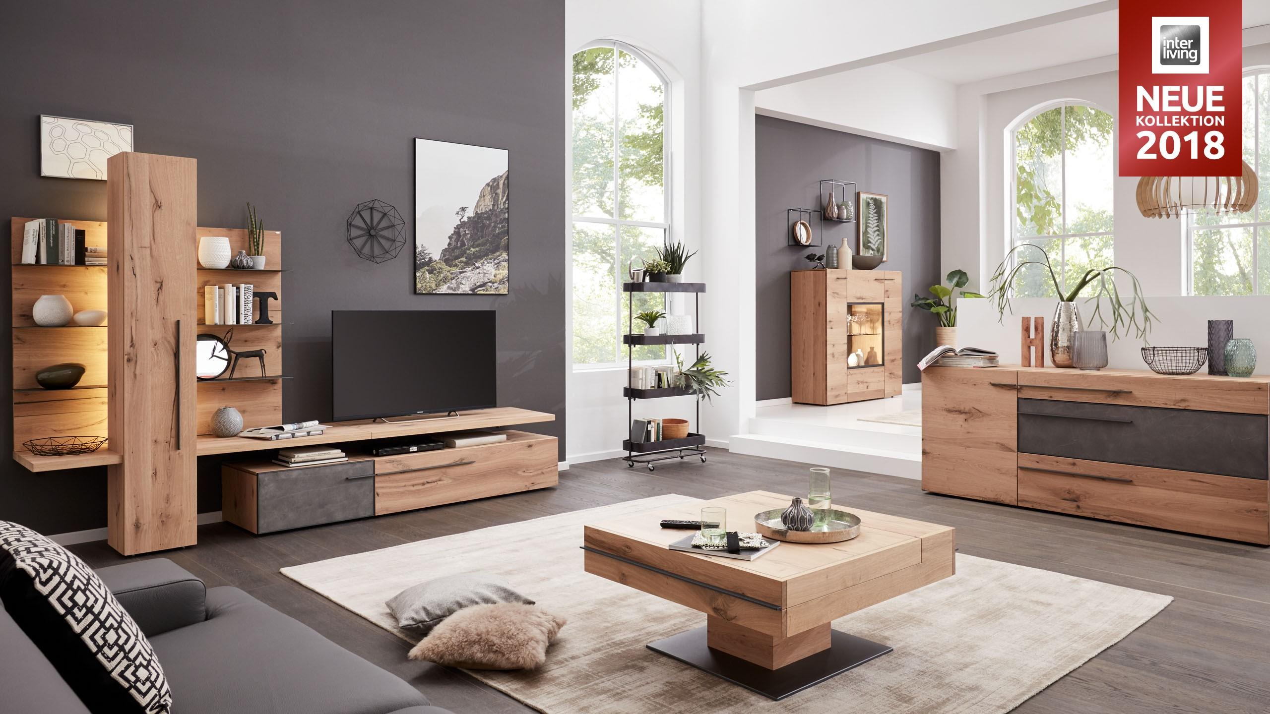 interliving wohnzimmer serie 2004 wohnwand wildeiche m bel fischer. Black Bedroom Furniture Sets. Home Design Ideas