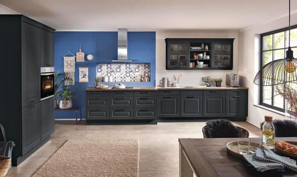 Nobilia Einbauküche Sylt Schwarz Küche moderner Landhausstil matt schwarz