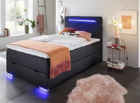 Meise Möbel Boxspringbett Las Vegas II Schwarz LED-Beleuchtung LED beleuchtet USB Anschluss Kunstleder weich hochwertig