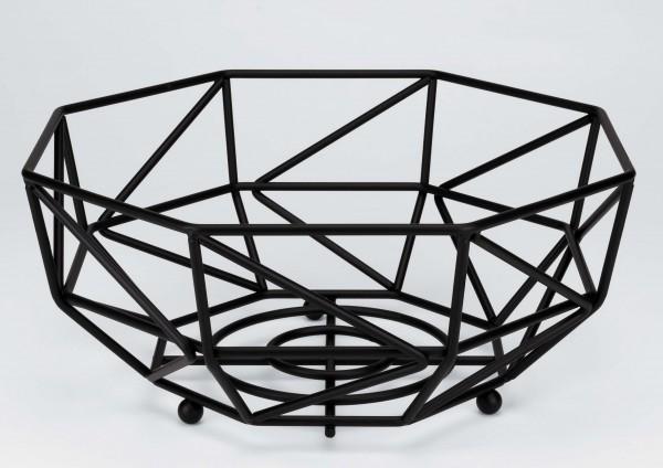 Justinus Obst-/Dekokorb LifeStyle Schwarz modern Obstkorb Metall Metallkorb geometrisch Design Küche Esszimmer