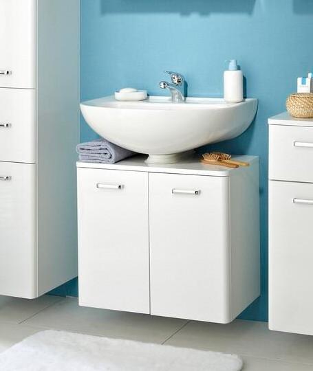 Pelipal Waschbeckenunterschrank Piolo Weiß 2 Schranktüren viel Stauraum Platz strahlend weiß Griffe Chrome