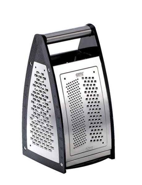 Gefu Vierkantreibe Quinto Edelstahl scharfe Edelstahlreibe 4 verschiedene Reibflächen verschließbarer Boden spülmaschinenfest