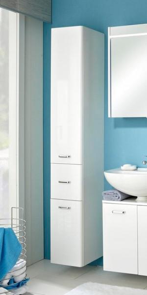 Pelipal Hochschrank Piolo Weiß hoher Badezimmerschrank 2 Schranktüren 1 Schublade viel Platz Stauraum