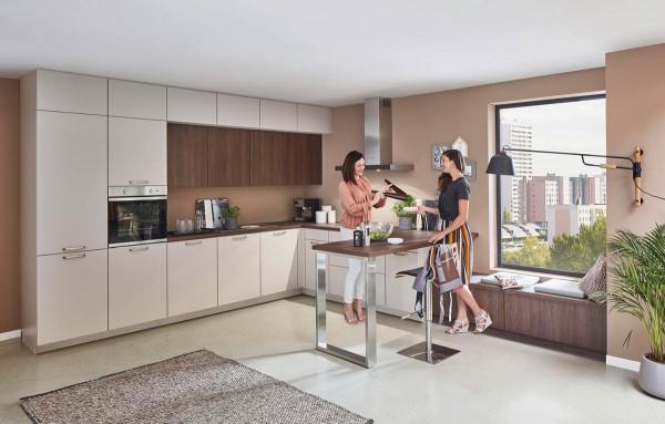 Nobilia Einbauküche Easytouch Lacklaminat Sand ultramatt zeitlos modern Designküche Markenküche