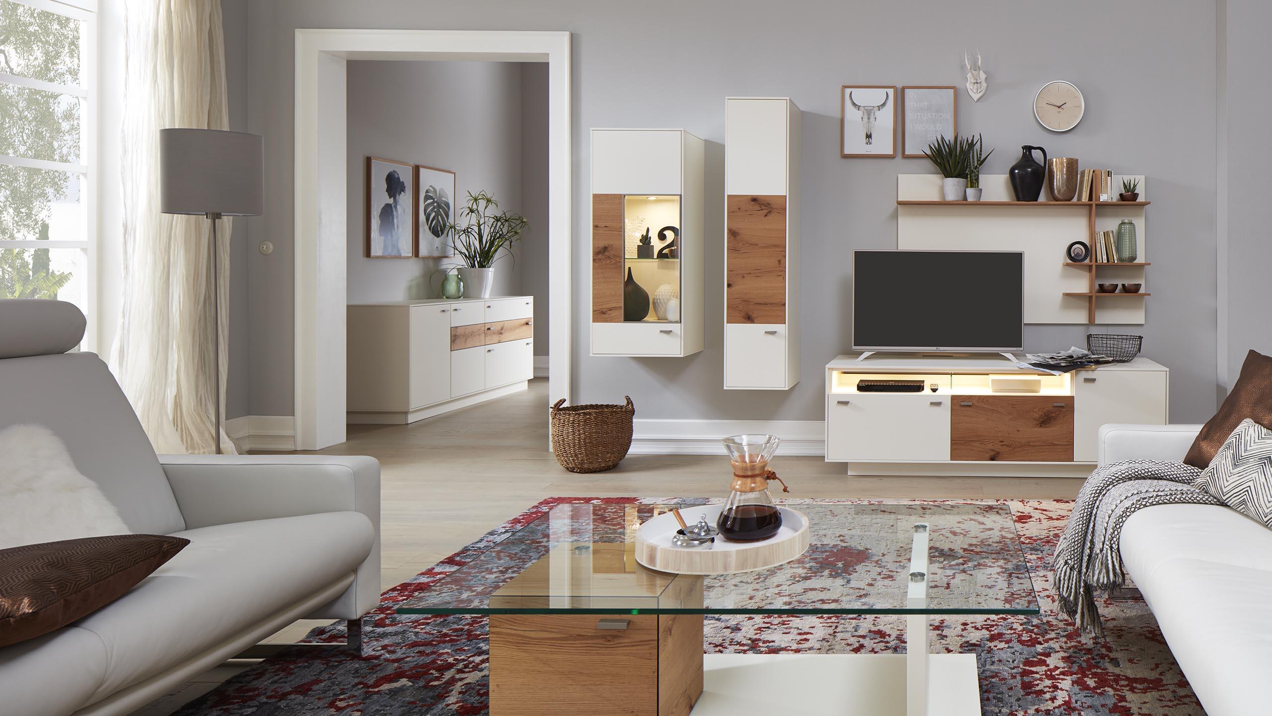 Interliving wohnzimmer serie 2101 wei es wohnzimmer m bel fischer - Graues wohnzimmer ...