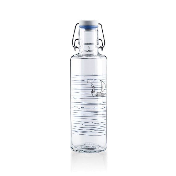 Soulbottles Trinkflasche Heimat.Wasser. Glasflasche 0,6 Liter nachhaltig plastikfrei Tragegriff Bügelgriff Fairtrade