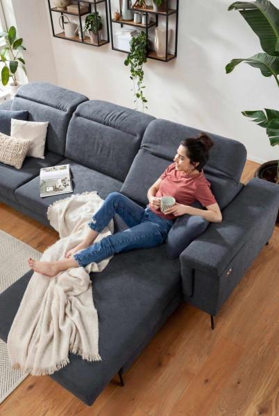 Iwaniccy Eckgarnitur Bombay Grau-Blau elektrische Relaxfunktion Komfort bequem liegen Ecksofa
