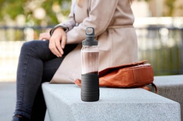 Emsa Trinkflasche Drink2Go Glas/Schwarz BPA-freies Borossilikatglas