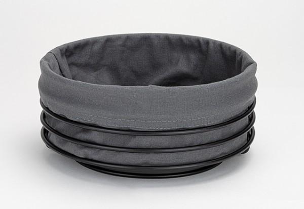 Justinus Brotkorb Lifestyle Schwarz modern zeitlos waschbare Stoffeinlage speichert Wärme warme Brötchen Frühstück Abendbrot