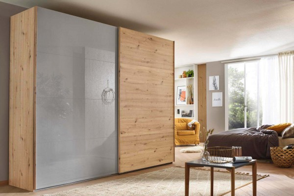 Rauch Schwebetürenschrank X-tend grey 2-türig Holz Eiche Hochglanzfront Kleiderschrank Schwebetüren Schiebetüren