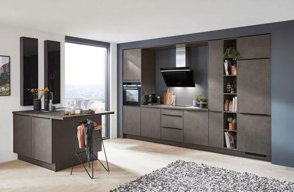 Nobilia Einbauküche Riva Beton terra grau moderner Industrial Style Betonoptik