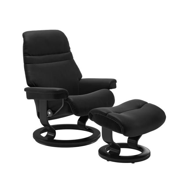 Stressless Sessel Sunrise S mit Hocker schwarz Hoher Sitzkomfort geschwungene Rückenlehne Relaxsessel