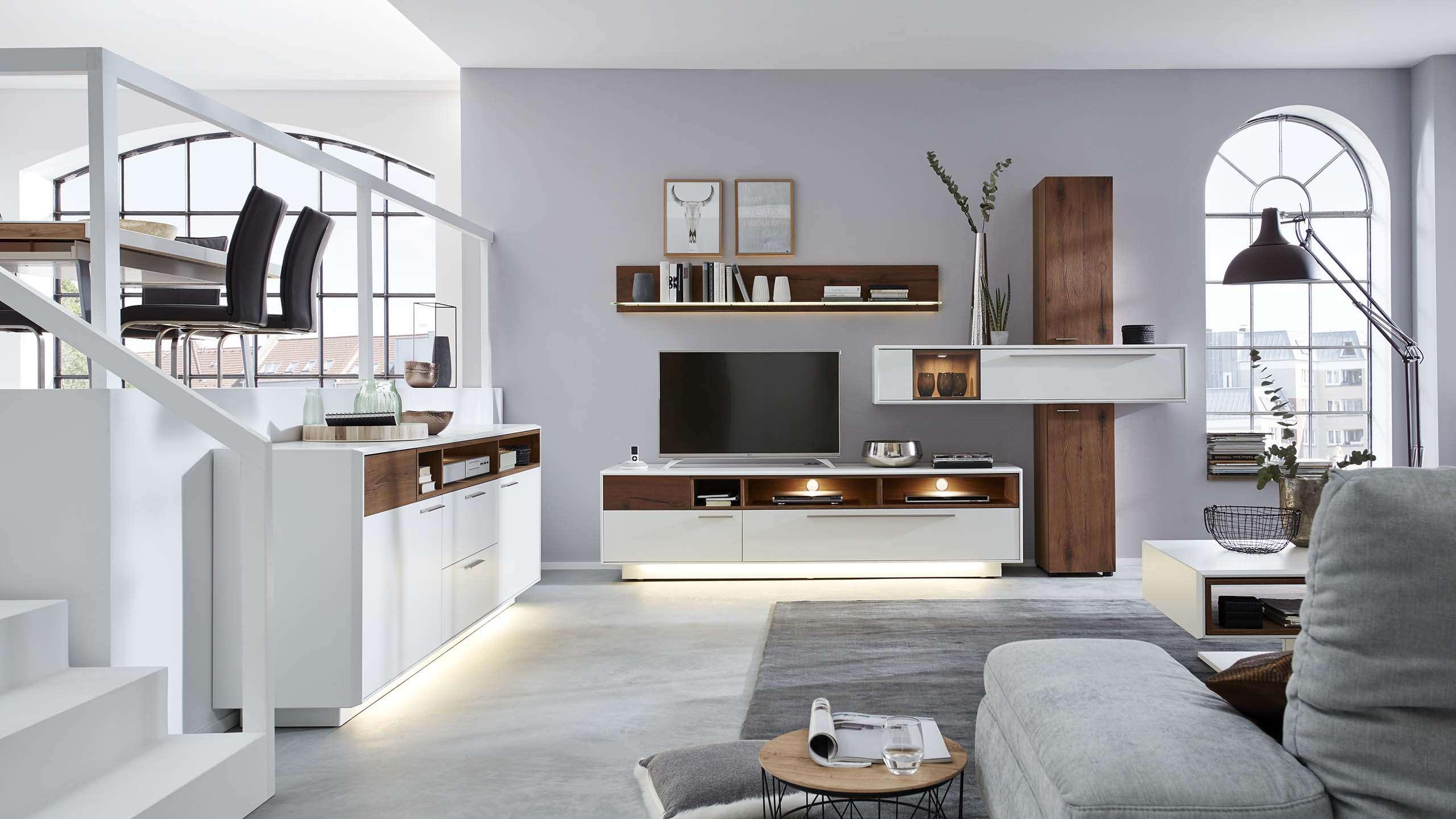 Interliving Wohnzimmer Serie 2102 Moderne Wohnwand Möbel Fischer
