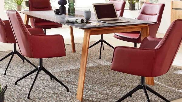 Interliving Design-Tisch 5603 Graphit Massivholz Holztisch Wildeiche Eiche Echtholztisch