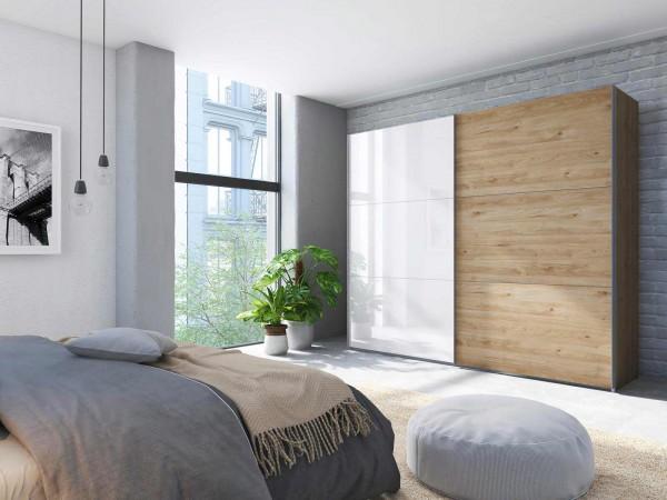 Express Möbel Schwebetürenschrank Swift Weißglas Schiebetürenschrank Glasfront Holz Holzoptik Eiche