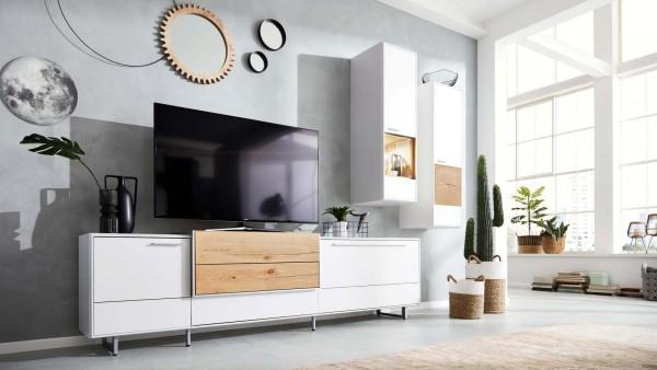 Interliving Wohnkombination 2102 weiß Moderne Wohnwand Wohnserie weiß Lack Asteiche Designmöbel Wohnzimmer