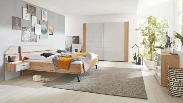 Interliving Schlafzimmer 1021 Grau/Holz modern zeitlos hochglanzfronten hell Komplettzimmer Schlafzimmerserie