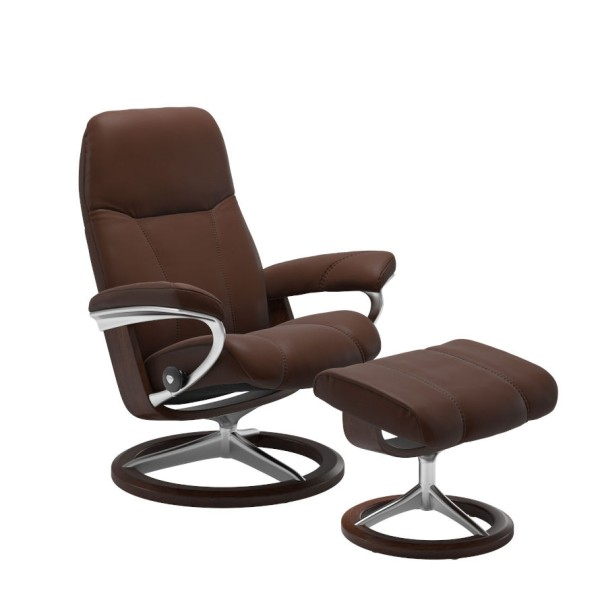 Stressless Sessel mit Hocker Consul M Malt Braun Gleitfunktion passt sich Körperbewegung an motorische Balance Adapt