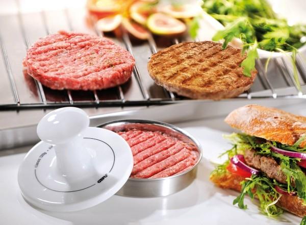 Gefu Hamburgerpresse Spark Silber/Weiß geringere Bratzeit gleichmäßiges Braten saftige Hamburger Patties