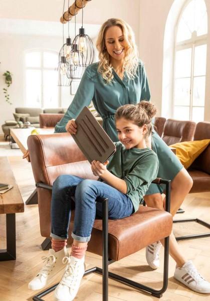 Niehoff Armlehnschwingstuhl Vintage Braun Bequem hoher Sitzkomfort