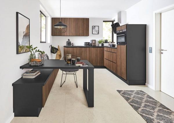 Nobilia Einbauküche Riva Nussbaum reduziertes schlichtes Design Nussbaum Granit Optik
