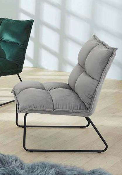 Pro.Com Sessel Bamberg Hellgrau Samtsessel Samt weich bequem modern Designmöbel Trendmöbel günstig grau schlicht