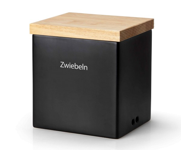 Continenta Vorratsdose Keramik Schwarz Keramik Aufbewahrung Holzdeckel Beschriftung austauschbar hochwertig